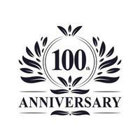 Celebrazione del 100 ° anniversario, lussuoso design del logo dell'anniversario di 100 anni. vettore