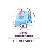 icona del concetto di riabilitazione virtuale vettore