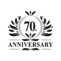 Celebrazione del 70 ° anniversario, design lussuoso del logo dell'anniversario di 70 anni. vettore