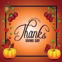 sfondo del giorno del ringraziamento con zucca vettoriale e foglia d'autunno