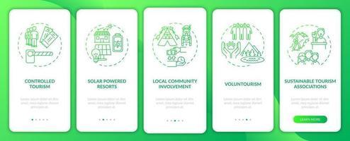 migliori pratiche di turismo sostenibile per l'inserimento della schermata della pagina dell'app con concetti vettore