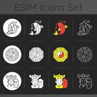 set di icone a tema scuro tradizioni asiatiche vettore