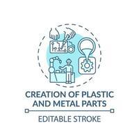 icona del concetto di creazione di parti in plastica e metallo vettore
