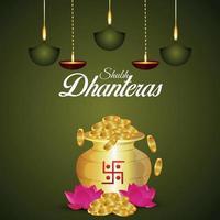 felice celebrazione sfondo dhanteras con illustrazione creativa di pentola moneta d'oro e fiore di loto vettore