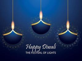 felice festival di diwali dell'india con diya di carta su sfondo blu vettore