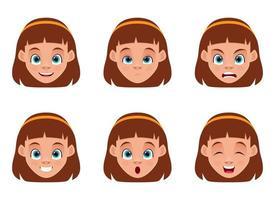 illustrazione di progettazione di vettore di espressioni del viso di bambina isolato su priorità bassa bianca