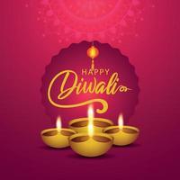 diwali festival della luce su sfondo rosa con diwali diya vettore