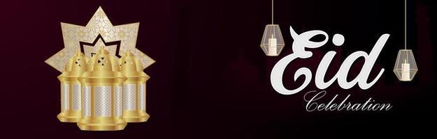 bandiera di celebrazione del festival indiano di eid mubarak con lanterna dorata araba vettore
