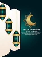 volantino festa di celebrazione felice muharram con luna e lanterna dorate modello vettoriale