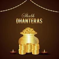 shubh dhanteras invito biglietto di auguri con illustrazione vettoriale di pentola moneta d'oro