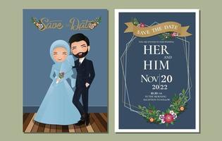 carta di invito a nozze la sposa e lo sposo coppia musulmana che abbraccia il fumetto vettore