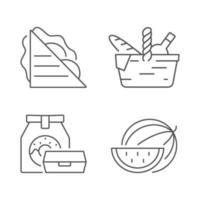 set di icone lineare pasto all'aperto vettore