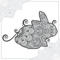 mandala di rinoceronte. elementi decorativi vintage. modello orientale, illustrazione vettoriale. vettore