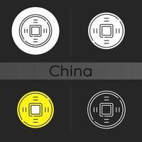 antiche monete cinesi icona tema scuro vettore