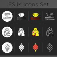 set di icone di tema scuro cultura cinese vettore