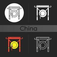 icona del tema scuro del gong cinese vettore