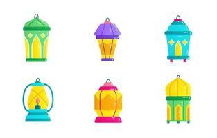 set di icone lanterna eid mubarak vettore