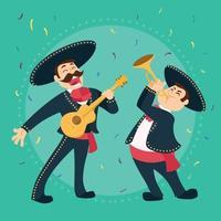 cartone animato mariachi messicano tradizionale cinco de mayo vettore