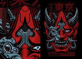 illustrazione vettoriale di cyberpunk samurai
