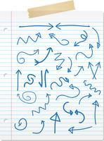 Frecce disegnate a mano su carta a righe vettore