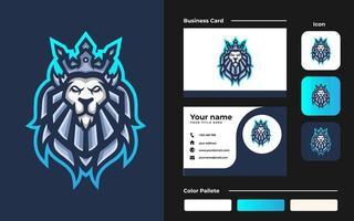 logo della mascotte di gioco del re leone esport e modello di biglietto da visita per la squadra di streamer vettore