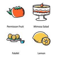 doodle di dessert e frutta vettore