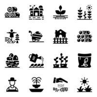 icone del glifo di terreni agricoli vettore