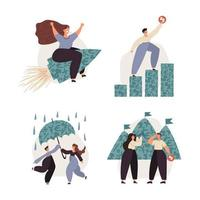 set di illustrazione di gestione delle finanze personali vettore