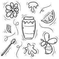 illustrazione disegnata a mano stabilita di doodle delle api del miele vettore