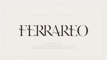 carattere classico elegante lettere dell'alfabeto. lettere serif moderne classiche, design di moda minimal. vettore