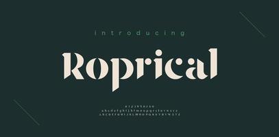 carattere e numero di lettere dell'alfabeto di lusso. design di moda minimal lettering classico. tipografia elegante carattere moderno serif vettore