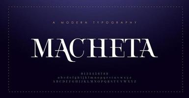 carattere e numero di lettere dell'alfabeto eleganti. lettering classico minimal fashion design. tipografia moderni caratteri serif decorativi concetto vintage vettore