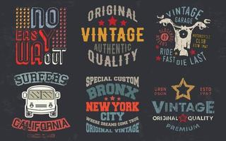 stampa di design vintage per timbro di t-shirt, applique a t-shirt, tipografia di moda, badge, abbigliamento con etichette, jeans e abbigliamento casual. illustrazione vettoriale