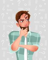 l'uomo sta pensando. illustrazione vettoriale in stile cartone animato.