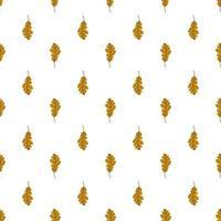 modello senza cuciture sveglio delle foglie di quercia su una priorità bassa bianca. modello dorato delle foglie di autunno. illustrazione vettoriale in stile piatto