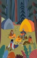 felice uomo e donna in campeggio insieme vettore