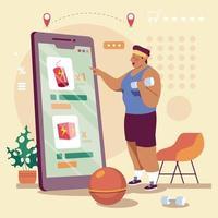 tecnologia untact ordina cibo online vettore