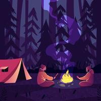 notte in campeggio nella giungla vettore
