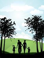 Famiglia che cammina fuori vettore