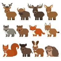 cartone animato piatto animali isolati della foresta e della taiga vettore