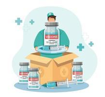 l'uomo tiene la scatola del vaccino. consegna di vaccini covid-19. concetto di assistenza sanitaria di medicina, illustrazione vettoriale