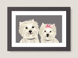 Ritratto di famiglia di cane Yorkshire Terrier vettore