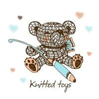 giocattoli a maglia, un orso con un uncinetto. vettore