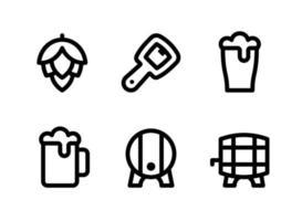 semplice set di icone di linea del vettore relative alla birra