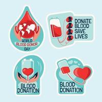 set di adesivi per la giornata mondiale del donatore di sangue vettore