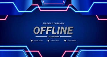 offline per giochi o live streaming con sfondo banner poster pop liquido vettore