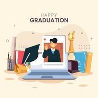 cerimonia di laurea sul concetto di piattaforma online vettore