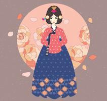 Signora nel vettore di Hanbok