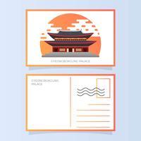 Illustrazione piana di vettore della cartolina del palazzo di Gyeongbokgung