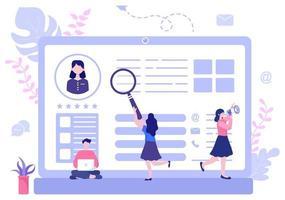 assunzione di lavoro e reclutamento online per pagina di destinazione web, banner, sfondo, presentazione o social media. illustrazione vettoriale